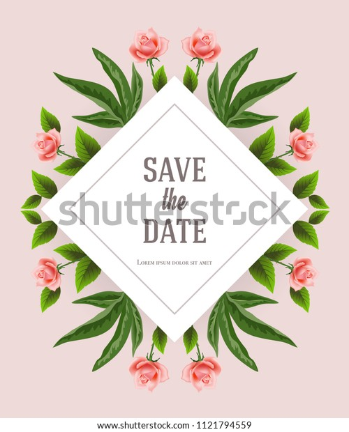 Save the date design template with floral decorative elements on pink background. Handwritten text, calligraphy. Celebration concept. Can be used for invitation, flyer, brochure