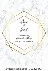 Save the date design template. Formal invite to follow. White marble background and gold geometric pattern. A6 format. Dimensions 114x158 mm and 3 mm bleed size. Seamless pattern included. Eps10.