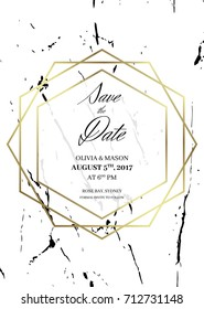 Save the date design template. Formal invite to follow. White marble background and gold geometric dimond pattern. Dimensions 4,625x6,5 inch. Seamless pattern included. Eps10.