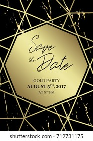 Save the date design template. Formal invite to follow. Black and gold marble background and gold geometric dimond shape. Seamless pattern included. Eps10.