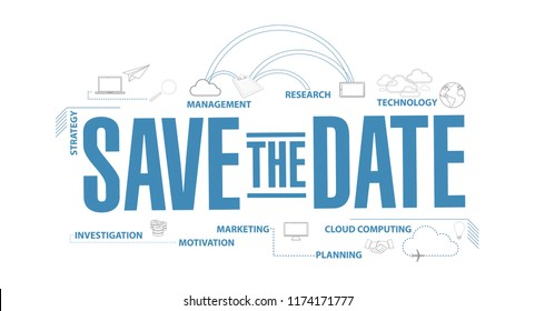 Save the date diagram plan concept isolated over a white background