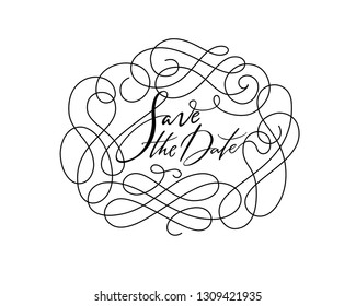Save the Date elegant floral oval frame vector. Hand drawn classic vintage flourish design. Modern calligraphy style wedding invitation. Ornate monoline simple design