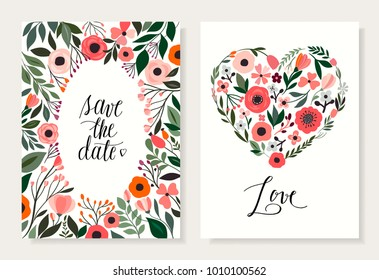 Save the date floral cards set with decorative hand drawn flowers and floral hearts
