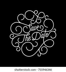 Save the Date flourish calligraphy lettering of swash line typography for wedding invitation card design. Vector festive ornamental wedding Save Date quote text of swirl pattern on black background