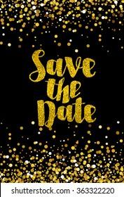 Save the date golden glitter wedding invitation template