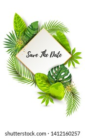 Save the Date. Green summer tropical background with exotic leaves, paper sheet with golden frame. Place for text. Vector illustration for flyer, party invitation, ecological concept, wedding, web.
