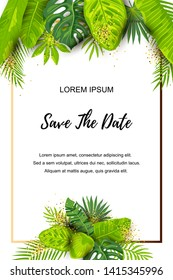Save the Date. Green summer tropical background with exotic leaves and golden frame. Place for text. Vector illustration for flyer, party invitation, ecological concept, wedding, announcement.