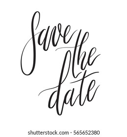 Save the date hand lettering card, wedding invitation with modern calligraphy inscription. Vector Illustration
