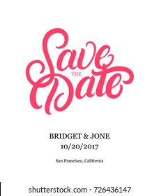 Save the date hand written lettering text. Modern brush calligraphy for wedding or love card. Isolated on background. Vector illustration.