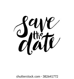 Save the date, hand-drawn labels for postcards design wedding invitations, photo overlays. Modern calligraphic handwritten background.