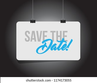 save the date hanging banner message isolated over a black background