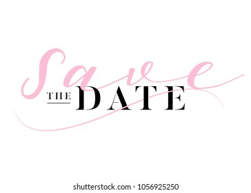Save the Date Heading for Wedding Invitation. Elegant Handwritten Calligraphy. Luxury Label, Black and Pink Colors. Trendy Wedding Title Design with Lettering. Minimal Monogram.