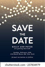 Save the Date Invitation Card with Holiday Lights. Save the Date Template in Vector