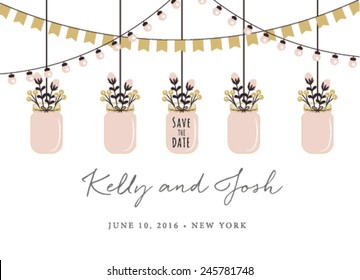 Save the Date Invitation with Hanging Mason Jars on White Background
