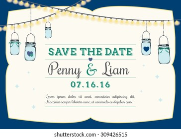 Save the date invitation with hanging mason jars. Wedding reminder template with navy blue frame and placement for custom text & wedding date. Vector illustration greeting card.