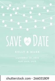 Save the Date Invitation with String Lights Card. Save the Date Template Card.