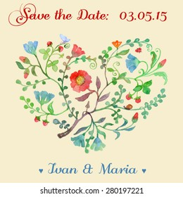 Save the Date Invitation with Watercolor forest heart.