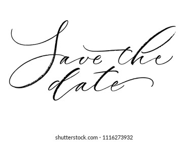 Save the Date lettering. Handwritten modern calligraphy, brush painted letters. Vector illustration. Template for wedding invitation, greeting card, poster, badge, banner, tag