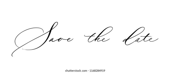 Save the Date lettering. Handwritten modern calligraphy, brush painted letters. Vector illustration. Template for poster, flyer, greeting card, invitation and various design products