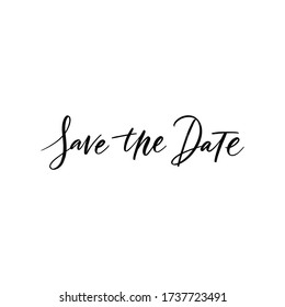 SAVE THE DATE LETTERING. WEDDING CALLIGRAPHY LETTERING. VECTOR BRUSH HAND LETTERING. WEDDING TYPOGRAPHY PHRASE. TYPE TEXT ART WORDS