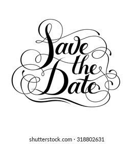 Save the date lettering. Wedding card. Calligraphic card.
