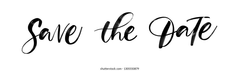 SAVE THE DATE LETTERING. WEDDING LETTERING. VECTOR BRUSH HAND LETTERING. WEDDING TYPOGRAPHY PHRASE. TYPE TEXT ART WORDS
