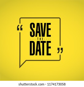 save the date line quote message concept isolated over a yellow background