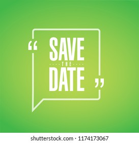 save the date line quote message concept isolated over a green background