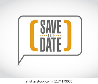 save the date message bubble isolated over a white background
