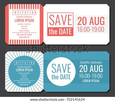save date minimalist invitation ticket vector のベクター画像素材