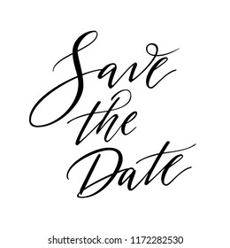Save the Date modern invitation card. Calligraphy wedding sign on white background