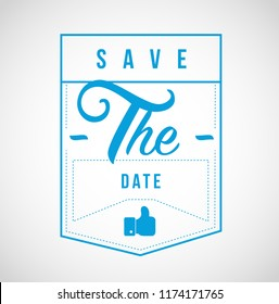 save the date Modern stamp message design isolated over a white background