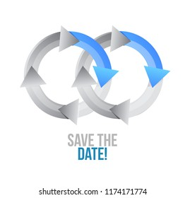 save the date. moving together cycle concept sign isolated over a white background