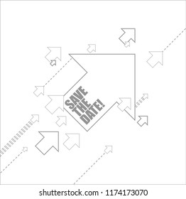 save the date multiple arrows following a leader concept, isolated over a white background