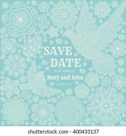 Save the date ornate design. Vector illustration.