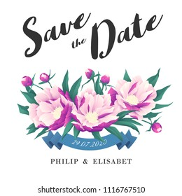 Save The Date with peonies. Vintage Wedding Card. Vector illustration