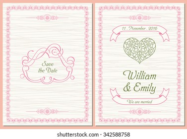Save The Date postcard, Wedding Invitation Card. Vector illustration