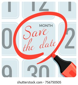 Save the date poster with red circle mark on calendar