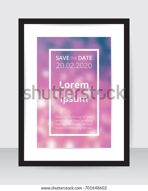 Save Date Poster Template Pink Blur Stock Vector Royalty