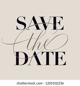 "Save The Date pre-made wedding template with cursive classy ""the"""