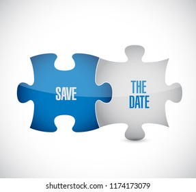 save the date puzzle pieces message concept, isolated over a white background