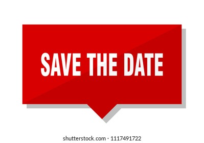 save the date red square price tag