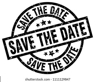 save the date round grunge black stamp