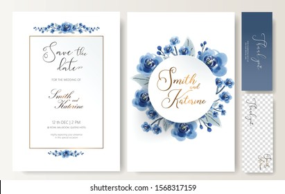 SAVE THE DATE SPECIAL WEDDING CARD BLUE ROSES PATTERN TEXTURE, ABSTRACT WHITE MARBLE TEXTURE BACKGROUND. design element for wedding card , birthday card , special event anniversary card