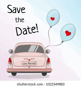 Save the date template with retro car and balloons