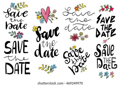 Save the date templates, labels, card. Wedding invitation with hand drawn lettering, flowers in simple style, hearts Isolated