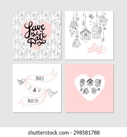 """""""Save the date"""" templates with nesting boxes and lettering."""