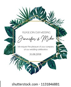Save the date tropical invitation design. Modern wedding card with  tropical leaves and golden geometric elements. Trendy design for poster or greeting card.