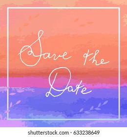 Save the Date vector card with lettering and delicate floral detail.
