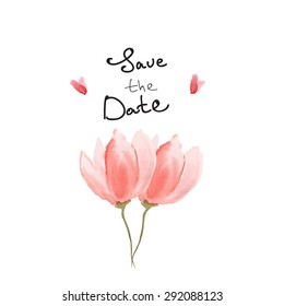 Save the date vector watercolour card with tulip and hearts